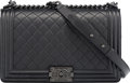 """Luxury Accessories:Bags, Chanel Black Quilted Calfskin Leather New Medium Boy Bag with Black Hardware. Condition: 2. 11"""" Width x 7"""" Height x 3...."""
