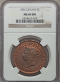 Ceylon, Ceylon: British Colony. Victoria 5 Cents 1892 MS64 Brown NGC,...