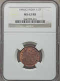 India:British India, India: British India. Victoria 1/2 Pice 1896-(c) MS62 Red and Brown NGC,...