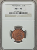India:British India, India: British India. Victoria 1/2 Pice 1901-(c) MS64 Red and Brown NGC,...