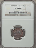 Ceylon: British Colony copper Proof 1/192 Rixdollar 1802 PR63 Brown NGC