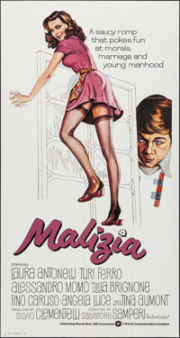 "Malicious & Other Lot (Warner Brothers, 1973). Folded, Overall: Very Fine-. International Three Sheet (41 ""X 77..."
