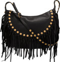 """Luxury Accessories:Bags, Valentino Black Leather C-Rockee Studded Fringe Hobo Bag with Gold Hardware. Condition: 1. 16"""" Width x 15"""" Height x 4""""..."""