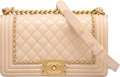 """Luxury Accessories:Bags, Chanel Beige Calfskin Leather """"Le Jacket"""" Old Medium Boy Bag with Gold Hardware. Condition: 2. 10"""" Width x 6"""" Height x..."""