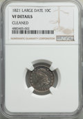 Bust Dimes, 1821 10C Large Date, JR-1, R.2, -- Cleaned -- NGC Details. VF. NGC Census: (0/6). PCGS Population: (1/3). VF20. Mintage 1,1...