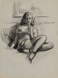 "Mainstream Illustration, Gil Elvgren (American, 1914-1980). ""I'm Not Bad...I'm Just Drawn that Way"" preliminary, circa 1946. Charcoal on tracing..."