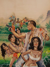 Mark Schneider (American, 20th Century) Trapped in a Congo Bush War, South Sea Stories magazine cover