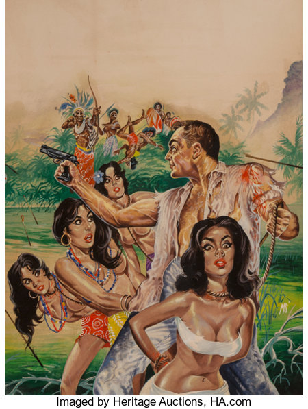 Mark Schneider (American, 20th Century) Trapped in a Congo Bush War, South Sea Stories magazine cover, May 1964 Gouach...