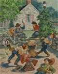 Paintings, Amos Sewell (American, 1901-1983). Kids Playing Cowboy, The Saturday Evening Post cover, March 11, 1950. Gouache on boar...