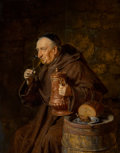 Fine Art - Painting, European:Modern  (1900 1949), Eduard von Grützner (German, 1846-1925). Monk drinking,1908. Oil on panel. 14-1/4 x 11-1/4 inches (36.2 x 28.6 cm). Sig...