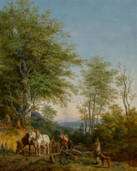 Heinrich Bürkel (German, 1802-1869) An Italianate wooded landscape with a woodcutter and his team of horses and