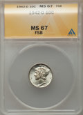 1942-D 10C MS67 Full Bands ANACS. NGC Census: (678/14). PCGS Population: (598/35). CDN: $140 Whsle. Bid for problem-free...
