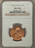 India:British India, India: British India. George V 1/4 Anna 1916-(c) MS65 Red and Brown NGC,...