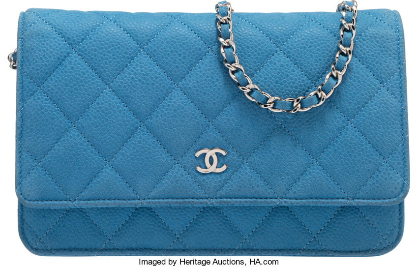 b15236296aff Condition; Luxury Accessories:Bags, Chanel Light Blue Quilted Caviar  Leather Wallet on Chain.