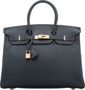 """Luxury Accessories:Bags, Hermès 35cm Blue Nuit Epsom Leather Birkin Bag with Gold Hardware. G Square, 2003. Condition: 2. 14"""" Width x 10"""" H..."""