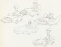 Animation Art:Concept Art, Jack Kerns (attributed) - Racing Cars and Drivers Concept DrawingOriginal Art (Hanna-Barbera, c. 1960s)....
