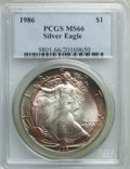 Modern Bullion Coins, 1986 $1 Silver Eagle MS66 PCGS. PCGS Population: (141/18345). NGC Census: (132/146484). Mintage 5,393,005....