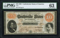 Confederate Notes:1861 Issues, T24 $10 1861 PF-1 Cr. 156 PMG Choice Uncirculated 63.. ...