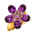 Estate Jewelry:Rings, Pink Sapphire, Amethyst, Gold Ring, Van Cleef & Arpels, French. ...