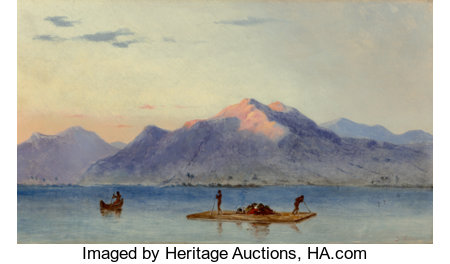 Judah LeVasseur (American, Active 1838-1842) Fishing on the Lake of Managua, Nicaragua: A Pair of Works, circa 1840 Oi... (Total: 2 Items)