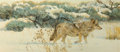 Fine Art - Painting, American, Bob Kuhn (American, 1920-2007). Winter's Hunt. Acrylic onMasonite. 16 x 36 inches (40.6 x 91.4 cm). Signed on the rever...