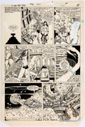 Original Comic Art:Panel Pages, George Pérez and Romeo Tanghal New Teen Titans #40 Story Page 17 Wonder Girl, Cyborg, and Starfire Original Art (D...