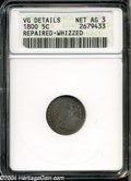 Early Half Dimes: , 1800 H10C--Repaired, Whizzed--ANACS. VG Details, Net AG3....
