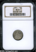 Seated Dimes: , 1851 10C MS61 NGC....