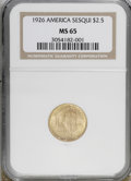 Commemorative Gold: , 1926 $2 1/2 Sesquicentennial MS65 NGC. . NGC Census: (839/89). PCGSPopulation (1527/107). Mintage: 46,019. Numismedia Wsl....