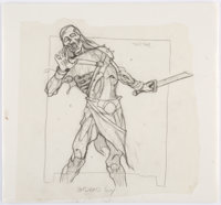 "Brom (Gerald Brom) Guardians Collectible Card Game ""Undead Guy"" Card Pencils Illustration Original Art (FPG, 1..."