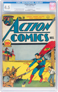 Golden Age (1938-1955):Superhero, Action Comics #31 (DC, 1940) CGC VG+ 4.5 Cream to off-white pages....