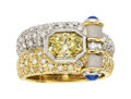 Estate Jewelry:Rings, Colored Diamond, Sapphire, Platinum, Gold Ring...