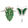 Estate Jewelry:Brooches - Pins, Jadeite Jade, Diamond, Gold, Silver Brooches. ... (Total: 2 Items)