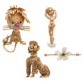 Estate Jewelry:Brooches - Pins, Diamond, Multi-Stone, Freshwater Cultured Pearl, Gold Brooches. ... (Total: 4 Items)