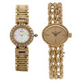 Estate Jewelry:Watches, Lady's Diamond, Mother-of-Pearl, Gold Watches . ... (Total: 2 Items)