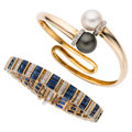 Estate Jewelry:Bracelets, Diamond, Sapphire, South Sea Cultured Pearl, Gold Bracelets. ... (Total: 2 Items)