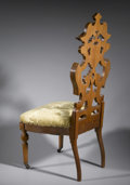 Furniture: English, A VICTORIAN WALNUT HALL CHAIR. A Victorian hall chair, with wheels on front two legs, carved walnut back rest with crest, ...