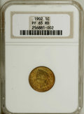 Proof Indian Cents: , 1902 1C PR65 Red NGC. This Gem sports plenty of eye appeal. A meticulously struck piece with a vibrant copper-orange obvers...