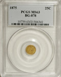California Fractional Gold: , 1875 25C Indian Round 25 Cents, BG-878, R.3, MS63 PCGS. PCGSPopulation (54/58). NGC Census: (3/5). (#10739)...