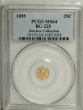 California Fractional Gold: , 1855 25C Liberty Round 25 Cents, BG-225, Low R.7, MS64 PCGS. AChoice yellow-gold representative of this extremely rare var...