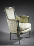 Furniture: French, A FRENCH DIRECTOIRE PERIOD BERGERE. A French directoire periodbergere, with padded elbow rests and sides and loose cushio...