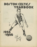 Basketball Collectibles:Programs, 1955-56 Boston Celtic Yearbook. Great example of the 1955-56 BostonCeltic yearbook with HOF legend Bob Cousy on the cover....