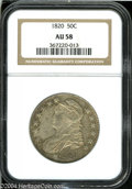 Bust Half Dollars: , 1820 50C Square Base 2, No Knob, Large Date AU58 NGC....