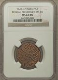 India:British India, India: British India. Bengal Presidency Pice Year 37 (1829) MS63 Brown NGC,...