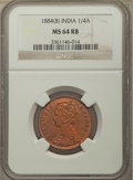 India:British India, India: British India. Victoria 1/4 Anna 1884-(b) MS64 Red and Brown NGC,...