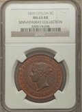 Ceylon, Ceylon: British Colony. Victoria 5 Cents 1870 MS63 Red and Brown NGC,...