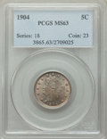 Liberty Nickels: , 1904 5C MS63 PCGS. PCGS Population: (215/718). NGC Census: (154/455). CDN: $100 Whsle. Bid for problem-free NGC/PCGS MS63. ...