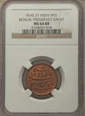 India:British India, India: British India. Bengal Presidency Pice Year 37 (1829) MS64 Red and Brown NGC,...