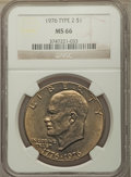 Eisenhower Dollars, 1976 $1 Type Two MS66 NGC. NGC Census: (425/3). PCGS Population: (522/14). CDN: $80 Whsle. Bid for problem-free NGC/PCGS MS...