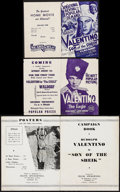 "Movie Posters:Romance, The Eagle & Other Lot (Artcinema Associates, R-1930s). Folded, Fine/Very Fine. Heralds (2) (Folded: 6"" X 9"" Unfolded: 12"" X ... (Total: 3 Items)"